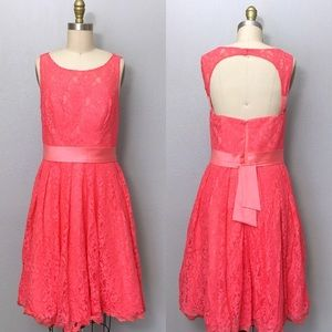 Fit and flare coral lace dress